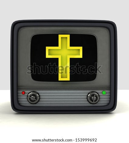 on-line broadcasting of religion magazine advertisement illustration