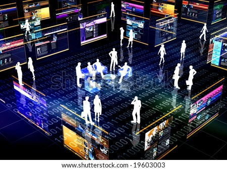 On-line community Concept or E-commerce illustrated with people doing activity and business in virtual futuristic world. - stock photo