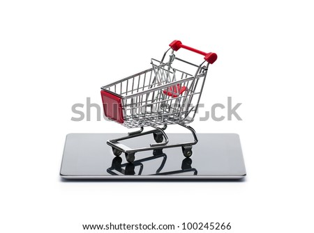 On line, mobile shopping concept isolated on white background - stock photo