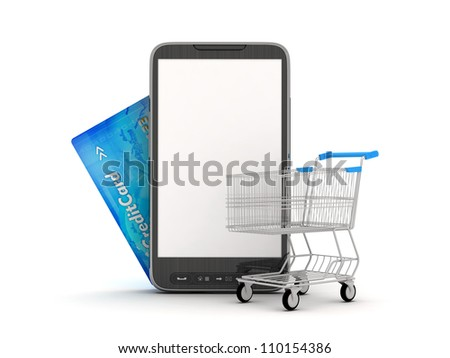 On-line Shopping by mobile phone - concept illustration - stock photo