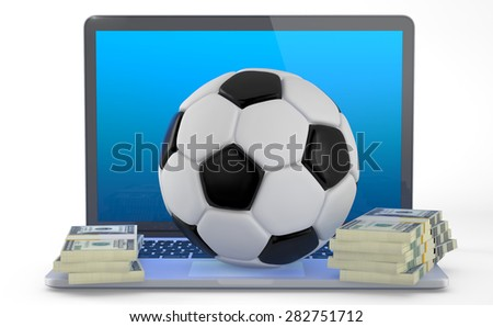 On Line Soccer Betting Concept (3D Render).A soccerball and some wad of dollars on laptop isolated on white background. - stock photo