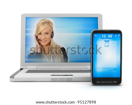 On-line support - woman on laptop screen and mobile phone - stock photo