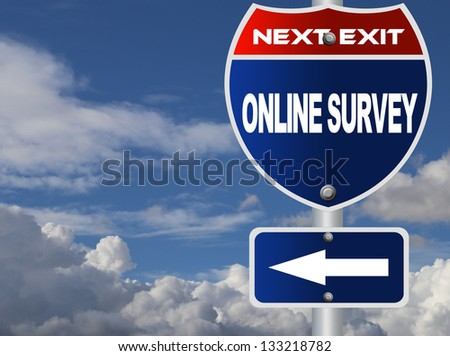 On line survey road sign - stock photo