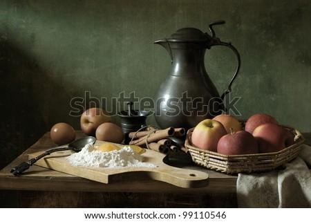 On making an apple pie - stock photo