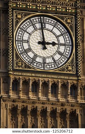On minute to three o'clock at Big Ben, London - stock photo