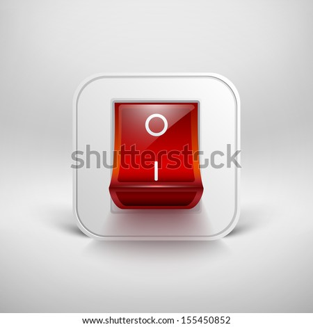 On/Off switch. Raster illustration. Raster version, vector file also included - stock photo