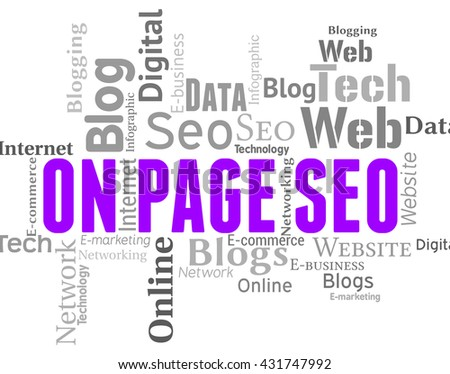 On Page Seo Showing Search Engines And Wordclouds - stock photo