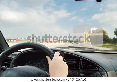 on route to her destination with gps guide - stock photo