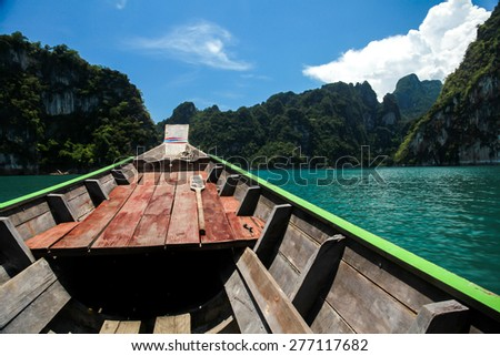 On rowboat to islands - stock photo