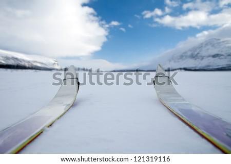 On ski throug Lapland in the Wintertime - stock photo