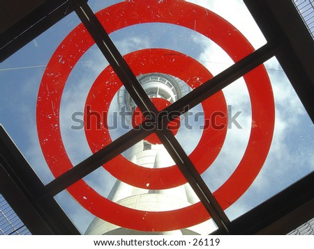 On target!  A landing platform for those who choose to jump (with cables) off Auckland, New Zealand's, Sky Tower - stock photo