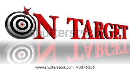 on target red word with conceptual target and arrow on white background clipping path included
