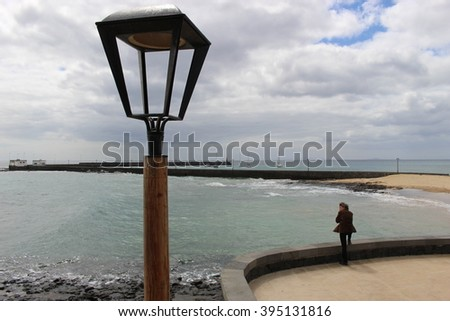 On the beach of Arrecife, Capital of Lanzarote, Canary Islands, Spain