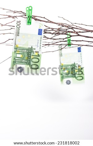 on the branches of paper money - banknotes of hundred euros - stock photo