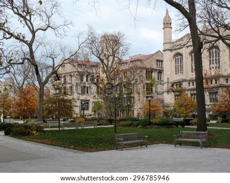 On the campus of the University of Chicago on an overcast Fall day in Chicago, IL, USA. - stock photo