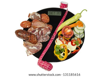 On the digital body scales is sorted dried meat on one half and the vegetables on the other second half. Two halves are separated by the measuring meter. The choice is to be on a diet or not. - stock photo