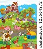 On the farm - the happy illustration for the children - stock photo