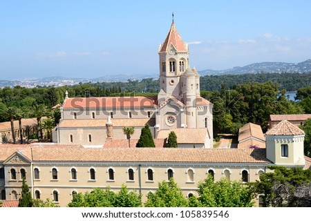 On the french riviera, the Saint Honorat island in the bay of Cannes, a peaceful place for the Lerins abbey monastery. - stock photo