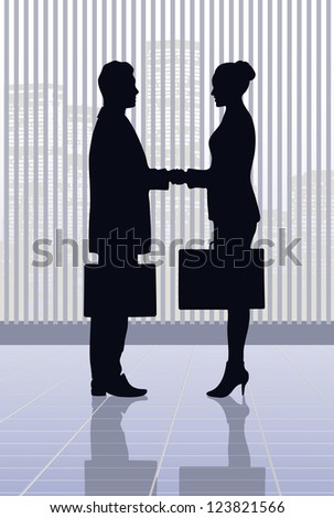 on the image the meeting of businessmen is presented