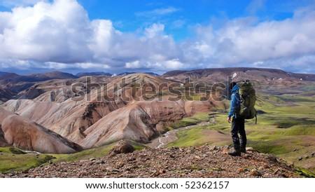 on the Laugavegur Trek in Iceland - stock photo