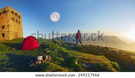 On the main ridge of the Carpathians - Montenegro is an ancient stone observatory Pop Ivan, built before World War II. Looks like a fortress or castle bastion, now planned reconstruction - stock photo