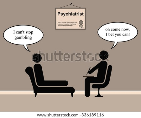 On the Psychiatrist couch with Doctor Quack and gambling - stock photo