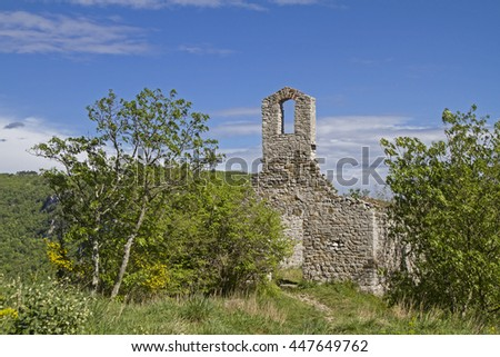 On the rock above Istarske Toplice the church of St. Stephen was built in the Middle Ages. Today it is just a ruin. - stock photo