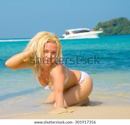 On the Sand Gorgeous Woman  - stock photo