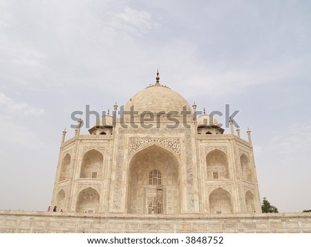 On the side of the Taj Mahal, looking from the other side. - stock photo