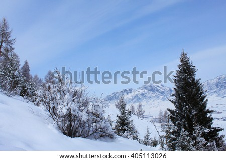 on the slopes of the mountain in winter - stock photo