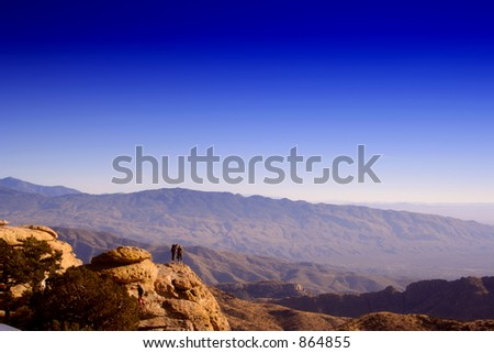 on the summit of peak (exclusive at shutterstock) - stock photo