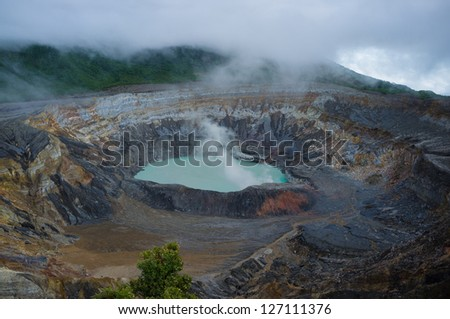 On the summit of Poas volcano, Costa Rica - stock photo