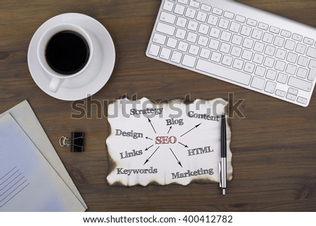 On the table a piece of paper and text. SEO - search engine optimization mindmap - stock photo