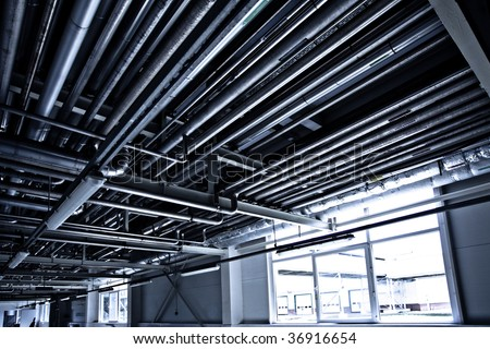 On the territory of brewer's plant, view to equipment - stock photo