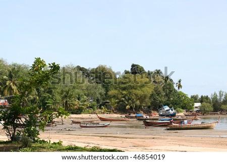 On the tropical beach. Province Trang Lanta. Koh Mook island. Kingdom Thailand - stock photo