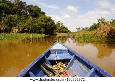 On the way of going fishing in Amazon jungle river, during the late of afternoon, in Brazil. - stock photo
