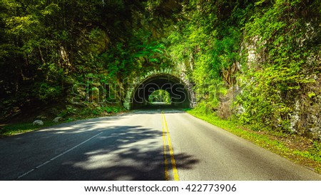 On the way to Cades Cove, Great Smoky Mountains - stock photo