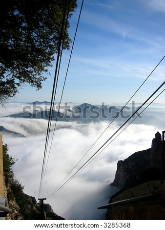 On top of the clouds - Cable Car experience at Montserrat, Barcelona, Spain