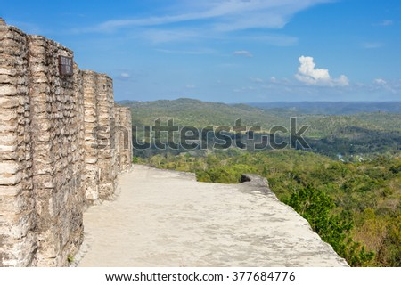 On top of the main pyramid at Xunantunich archaeological site of Maya civilization with some landscapes view, Cayo District near San Ignacio, Belize - stock photo