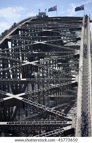 On top of the Sydney Harbor Bridge - stock photo