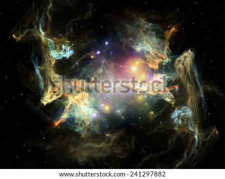 Once Upon a Space series. Composition of fractal clouds with metaphorical relationship to Universe, cosmos, astronomy, science and education - stock photo