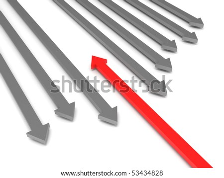 Oncoming traffic. Grey arrows and red arrow isolated on white background. High quality 3d render. - stock photo