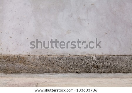 oncrete wall. Large concrete wall. Texture. Background. Image of dark concrete wall and floor - stock photo