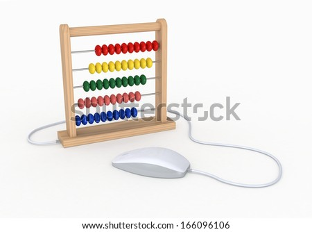 one abacus with a mouse, concept of old and new technologies (3d render)