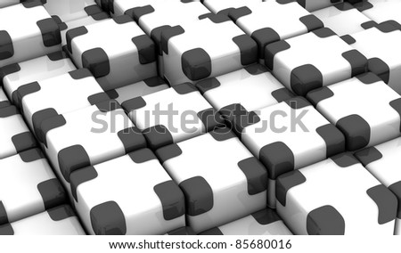 one abstract background made with cubes (3d render)