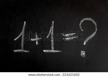 One add one on chalkboard  - stock photo