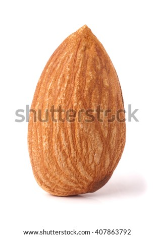 One almond nut isolated on white background close-up macro - stock photo