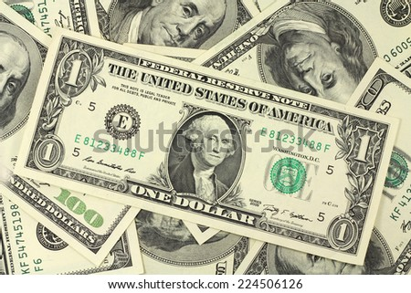 one American dollar bills on a background  - stock photo