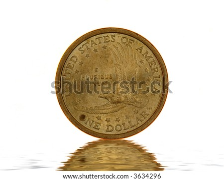 One American Dollar coin isolated on white background - stock photo
