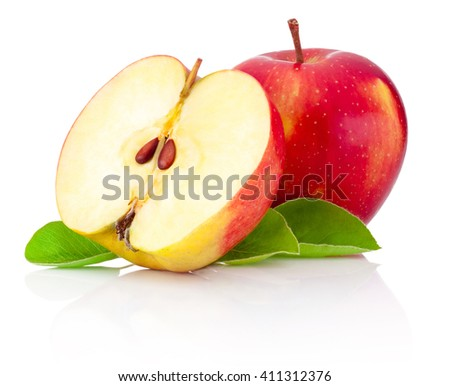 One and a half red apples isolated white background - stock photo